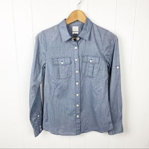 ❤️J. Crew•Perfect fit button up shirt in chambray